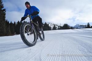 Screaming down groomed trail by fatbike